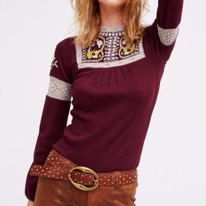 Free People Burgundy Embroidered Top S